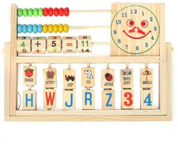 GOLDEN-BRIGHT Calculation Abacus Flap & Alphabets Numbers Words in Smiling Clock with Math Counting Addition Wooden Kids Toys