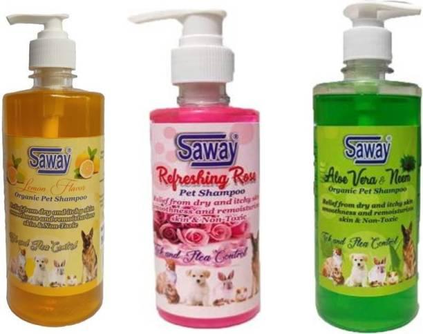 SAWAY Flea and Tick, Anti-itching, Anti-fungal, Conditioning neem & aloevera, Refreshing Rose, Lemon Dog Shampoo