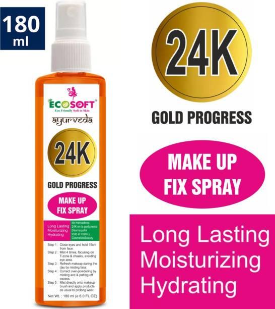 ECOSOFT AYURVEDA MAKEUP FIXER 24K GOLD PROGRESS SPRAY Primer, long lasting Makeup Fixer Natural Spray CAN BE APPLIED ANY TYPE OF MAKE UP MIST & FIX Primer (ORANGE COLOUR). Primer  - 180 ml