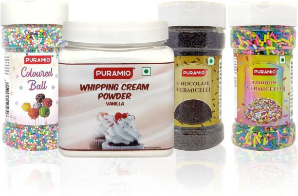 PURAMIO Cake Decoration Combo Kit Whipping Cream-250g, + Rainbow Vermicelli-125g, + Chocolate Vermicelli-125g, + Coloured Balls-150g, 650 g