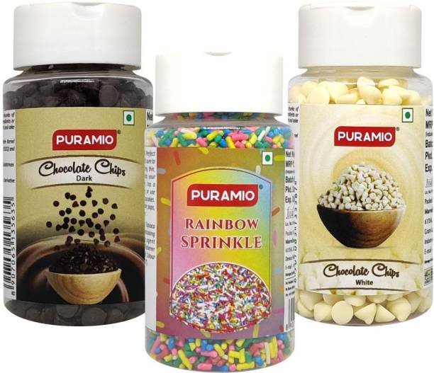 PURAMIO Cake Topping Combo Of- Dark Choco Chips + White Choco Chips & Rainbow Sprinkle, 75g Each Topping