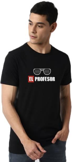 ELEGANT FOX Printed Men Round Neck Black T-Shirt