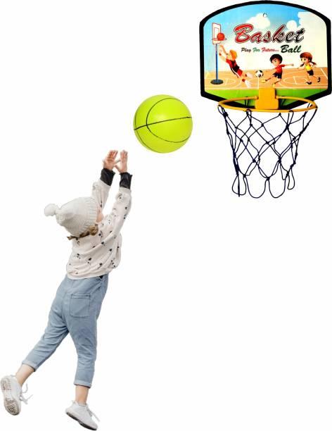 sarvda Basket Ball for Kids Portable Set with Hanging Board, net, Ball Indoor and Outdoor Game Good Pastime Gift Set Baseball Kit