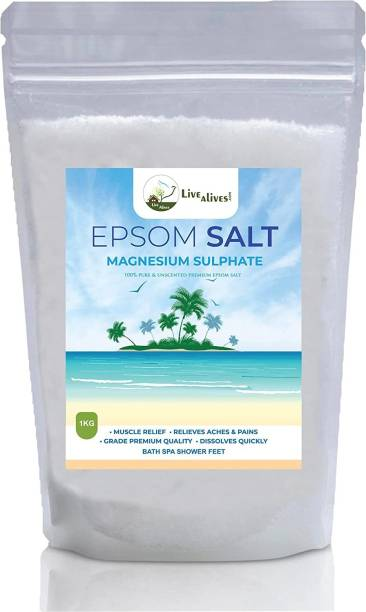 live with alive 2kg Epsom Salt for Bath and Feet Soak | Muscle Relief, Relieves Aches & Pains | Energy manure For Plants Growth and Plant Nutrient.