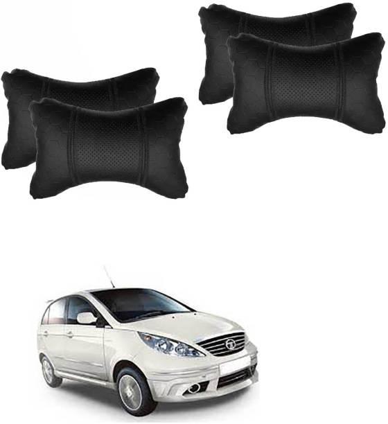 NIKROKZ Black Leatherite Car Pillow Cushion for Tata