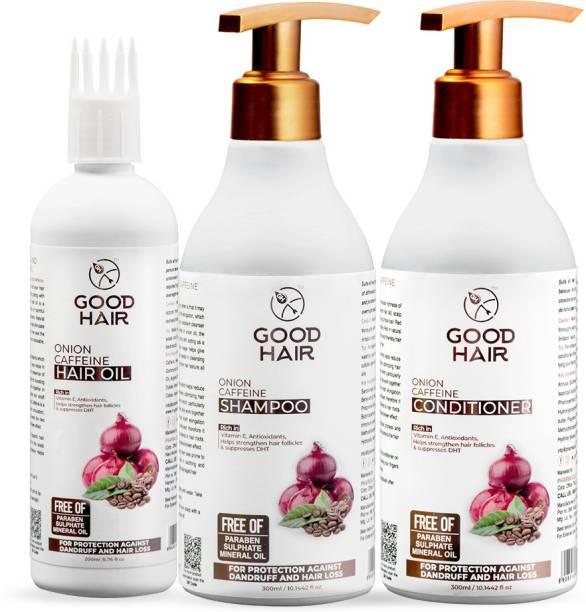 Good Hair Onion Caffeine Combo Kit Oil, Shampoo & Conditioner