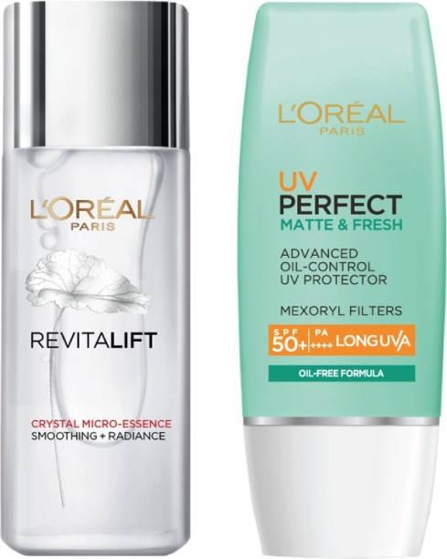L'Oréal Paris Aditi's Skincare favourites Kit: Revitalift Crystal Micro essence 65ml + UV Perfect Matte & Fresh