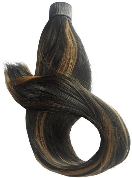 BELLA HARARO Long Straight Golden Highlights Wrap Around Ponytail Synthetic  Extension for Women Straight Brown Golden Highlights 24 Inch-(Pack Of 1) Hair Extension