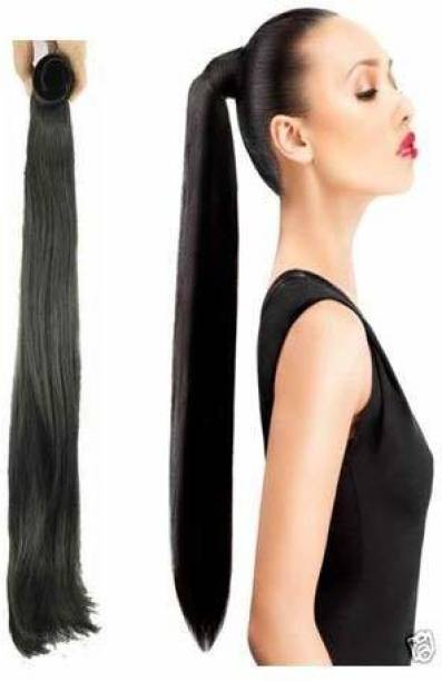 BELLA HARARO Straight Wrap Around Ponytail  Extensions For Women And Girls Black Highlights 150 grams Pack Of 1pc Hair Extension