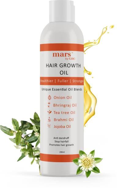 mars by GHC Bhringraj Oil With Onion, Jojoba, Fenugreek & 17 other Essential Oils - Healthy Hair Growth & Anti Hair Fall Hair Oil