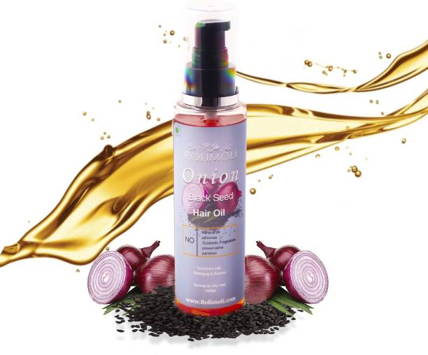 Rolimoli Onion Oil / Black Seed Onion Hair Oil Enriched with Bhringarj and Bhrami - controls Hair Fall - No mineral Oil, Silicones, synthetic fragrance, preservation, paraben- 100ML Hair Oil
