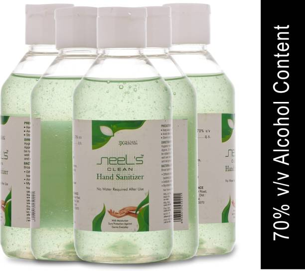 Neels , 70% Alcohol Based Sanitizer, Kills Germs Instantly, Non Sticky, Gentle on Hand (Pack of 5) Hand Sanitizer Bottle