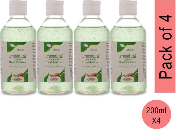 Neels , 70% Alcohol Based Sanitizer, Kills Germs Instantly, Non Sticky, Gentle on Hand (Pack of 4) Hand Sanitizer Bottle