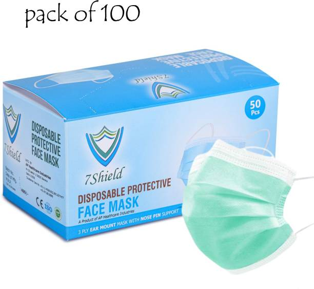 7SHIELD 3 ply green surgical mask CE and ISO Certified Face Mask with Nose clip and soft ear loops 3PLY Water Resistant Surgical Mask green 3 ply disposable filter protection breathable dust proof Water Resistant Surgical Mask Water Resistant Surgical Mask