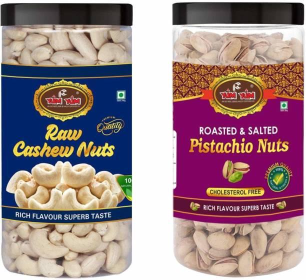YUM YUM Premium Jumbo Pista (500g) and Cashew (500g) 1kg Dry Fruits Combo Pack- Pistachios, Cashews