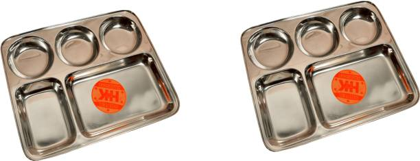Super HK Stainless Steel Lunch/Dinner Plate/Bhojan Thali 5 in 1 Compartments Dinner Plate
