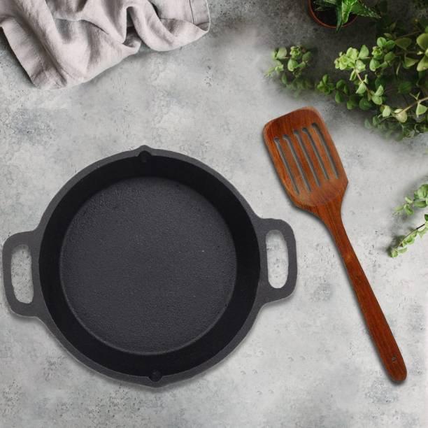 70'S KITCHEN Single quantity Cast Iron Double handle skillet with fry ladle Cookware Set