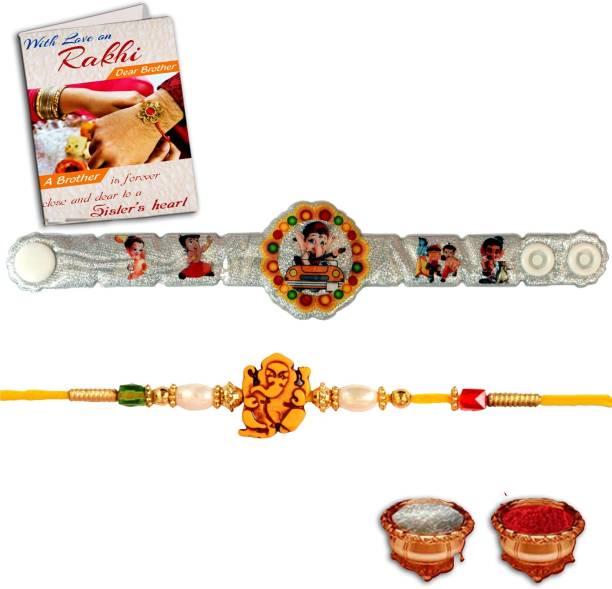 BuyersCue Designer Rakhi, Chawal Roli Pack, Greeting Card  Set