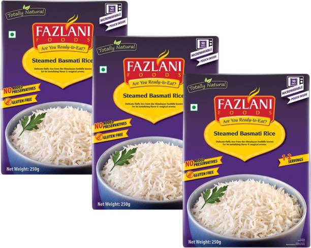 FAZLANI FOODS Ready to Eat Steamed Basmati Rice , (Pack of 3, 250 gm each) 750 g