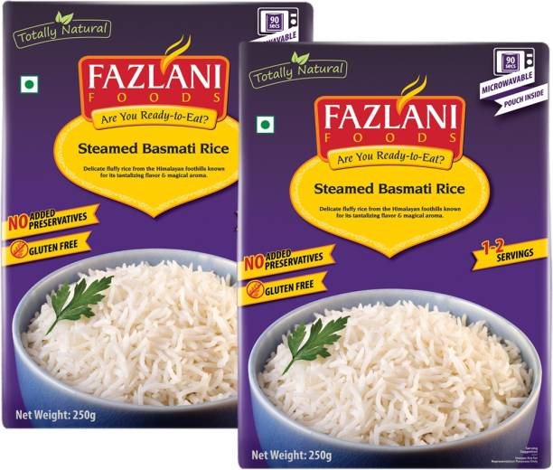 FAZLANI FOODS Ready to Eat Steamed Basmati Rice , (Pack of 2, 250 gm each) 500 g
