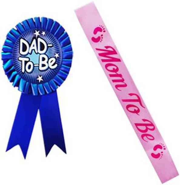 NANDANA COLLECTIONS Mom to be Sash Pink and Dad to be Batch