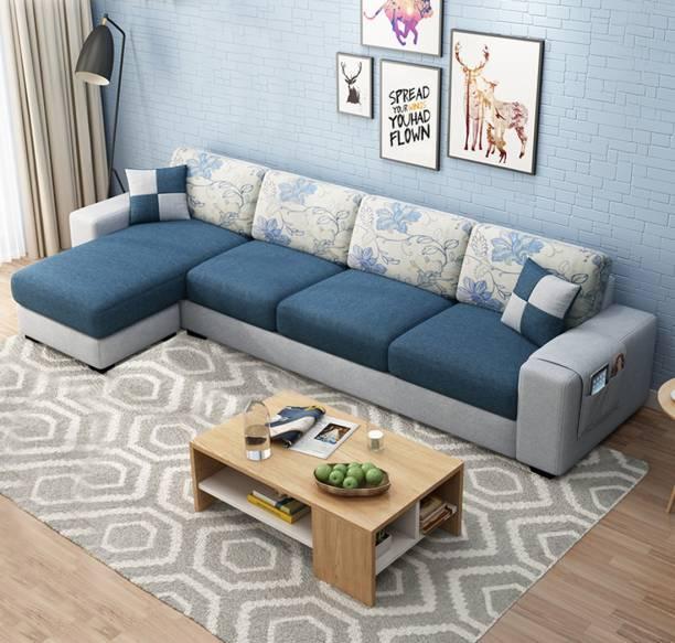 FURNY Orlando LHS L Shape Fabric 5 Seater  Sofa