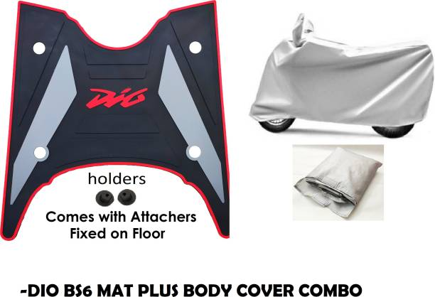 KIIRUS DIO DLX BS6 AND BODY COVER COMBO FOOTMAT/FLOORMAT/SCOOTYMAT(WASHABLE MATS) Honda Dio Two Wheeler Mat