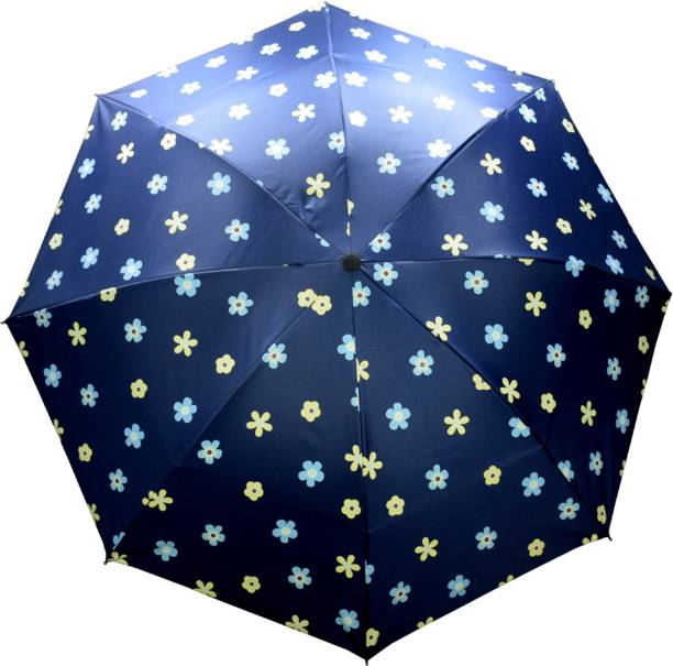 KEKEMI UMB022_03 UMB016F 3 Fold Print Windproof Rain Travel Umbrella