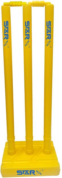 Star X Heavy Duty First Grade Plastic Full Sized Yello Color Cricket Wicket Set with Base