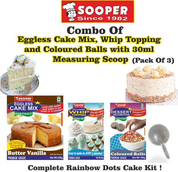SOOPER Cake Mix 250g+ Whipping Cream 50g+Coloured Balls 100g+ SCOOP Topping