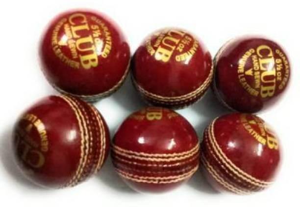 JOJOMART CLUB SET OF 6 GENUINE LEATHER BALLS 2 PART Cricket Leather Ball