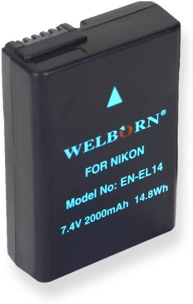 WELBORN EN-EL14 Rechargeable  Pack compatible with Nikon Digital Cameras D3100,D3200,D3300,D3400,D3500,D5100,D5200,D5300,D5500,D5600 Coolpix P7000, P7100, P7200, P7700, P7800 , Df  Battery