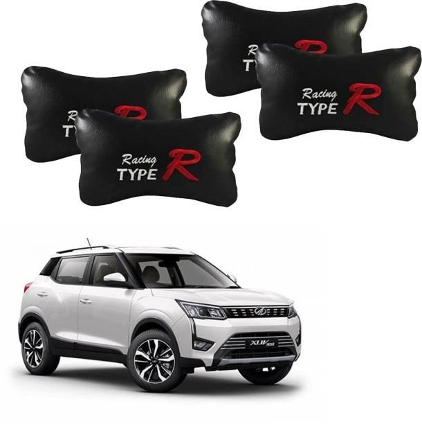 NIKROKZ Black Leatherite Car Pillow Cushion for Mahindra