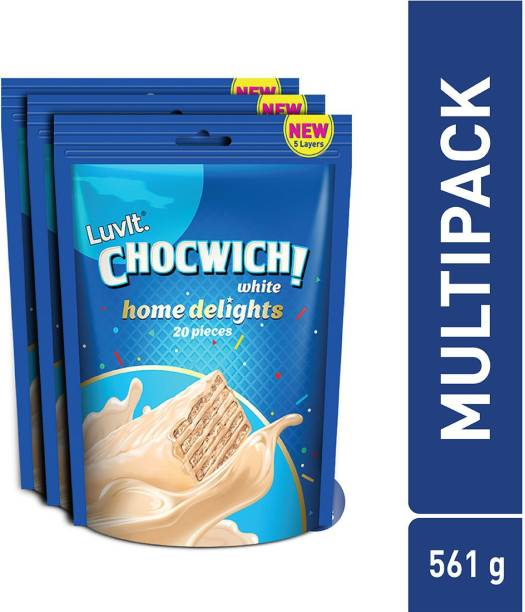 LuvIt Chocwich White Home Delights Wafer Chocolates | Crunchy & Delicious | Homepack | Gift Combo Bars