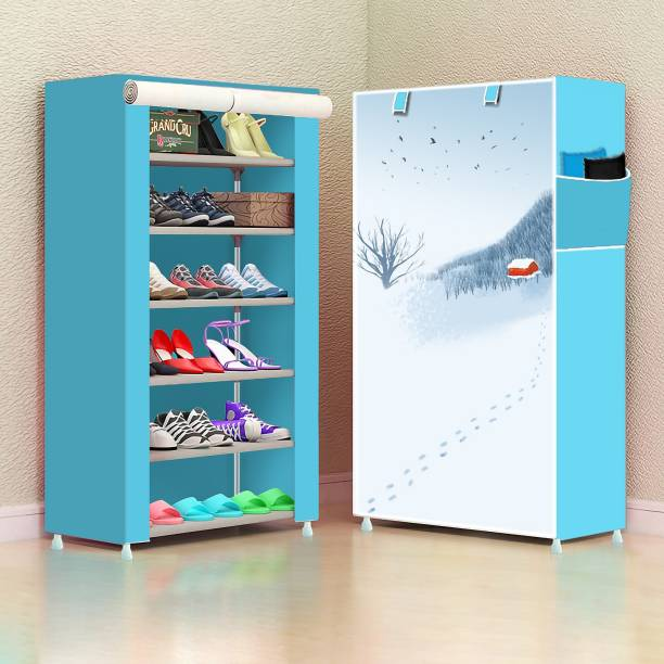 Sasimo 1 Door 6 Shelf Fabric PP Metal, Plastic Collapsible Shoe Stand