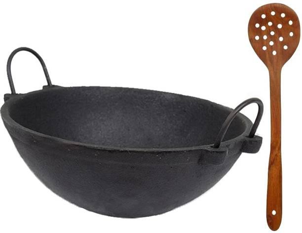 70'S KITCHEN Cast iron Kadai come with shesham wooden gravy ladle Cookware Set