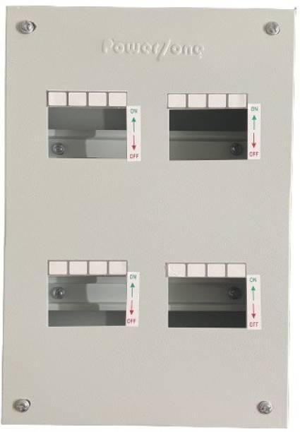POWERZONE 4 way TPN (Three Phase) Single Door Metal MCB Box - DB Distribution Board