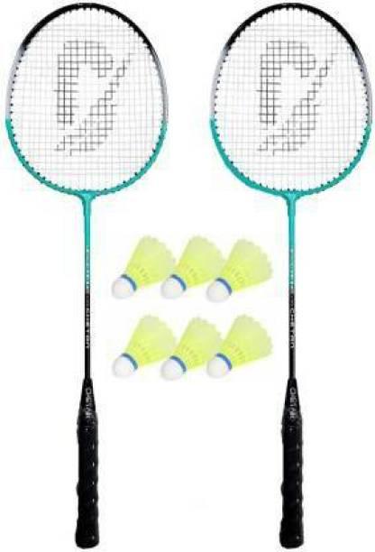 JOJOMART Badminton Set Of 2 Piece Racquet with 6 Piece Plastic Shuttle Single Shaft Badminton Kit