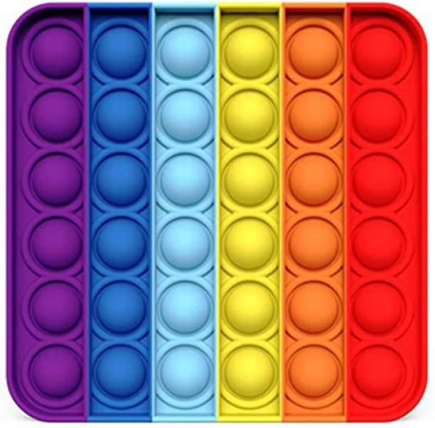DIKUJI ENTERPRISE Push Pop Bubble Sensory Fidget Toy Set ,Pop It Push Pop Silicone -Relief Items Popper Fidget Educational Toys for ADHD Autism Special Needs Toys , Family and Friends (Rainbow Squre)