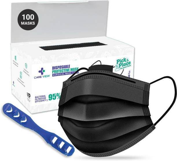 Care View 3 Ply Black coloured Disposable Face Mask Box CV2920-BLACK Surgical Mask With Melt Blown Fabric Layer