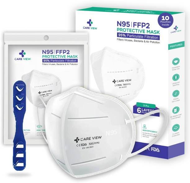 careview CV-1221 White N95 | FFP2 Protective Mask with Ear Loops Filters Viruses, Bacteria & Air Pollution |Pack of 10 CV1221 Reusable