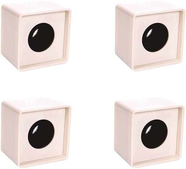 Indie Roots Branded ABS Injection Molding Square Cube Interview Mic Microphone Logo Flag Station Logo -White Pack of 4 Holder