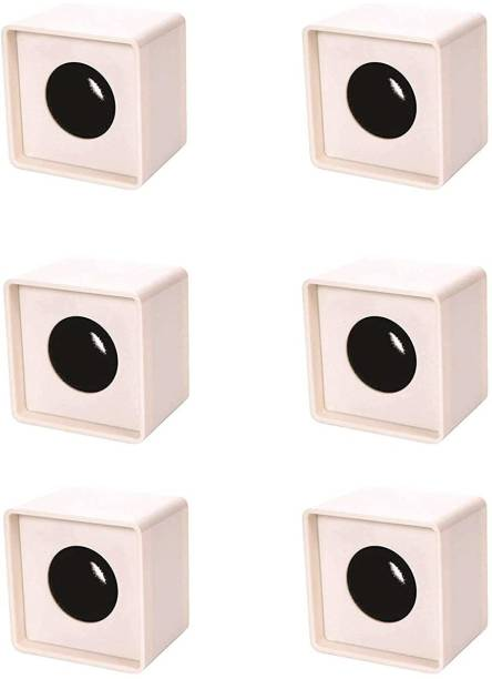 Indie Roots Branded ABS Injection Molding Square Cube Interview Mic Microphone Logo Flag Station Logo -White Pack of 6 Holder