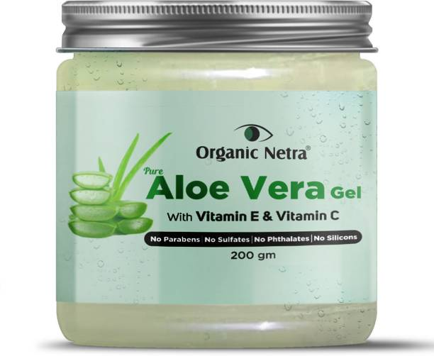 Organic Netra Pure Aloe Vera Gel With Vitamin C & E | Cold Pressed | For Skin, Face, Hair | Paraben Free | Sulphate Free