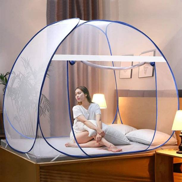 Aetrius Polyester Adults Mosquito Net, Polyester Foldable King Size Bed,Double Bed,Queen Size Bed with Free Saviours(Suitable for 6ft x 6ft to 6.9ft x 6.9ft) - White Mosquito Net