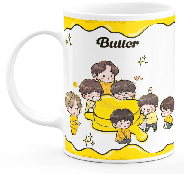 TrendoPrint Bts Printed Cup White Tea Milk Ideal And Sweet Gift And Return Gift Choice For Kids girls Friends Brother Sister Mom Dad Bro Sis Cousins Son Daughter And Bts Lover Bts Army Bts Signature V Suga J-Hope Jungkook Jin Jimin Rm Ceramic Coffee (350 ml) Ceramic Coffee Mug