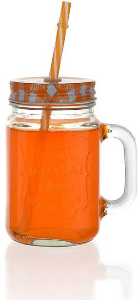 PAWNAM Mason Glass Jar with Reusable Straw For Beverages, Fruit Juices On Party (1 piece, Random color, 500 ml) Glass Mason Jar