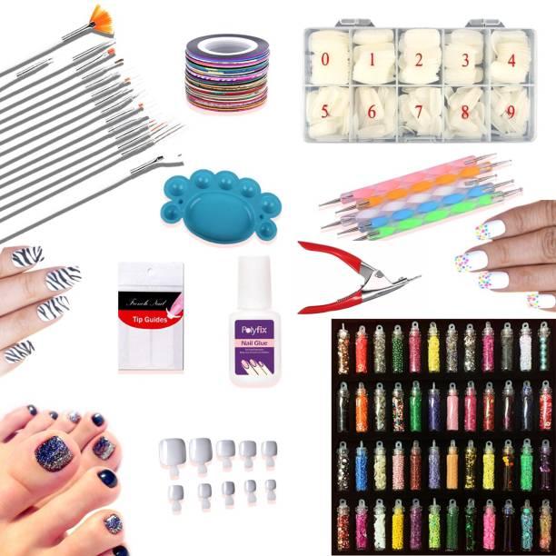 coslifestore Nail Art Kit (Set of 1088 pcs) 48 Nail Art Glitter, 5 Dotting Tool,15 Nail Brushes, Palette, 5 Adhesive Nail Striping Tape, nail glue, 12 French strips, 1000 fake nail tips, tip cutter