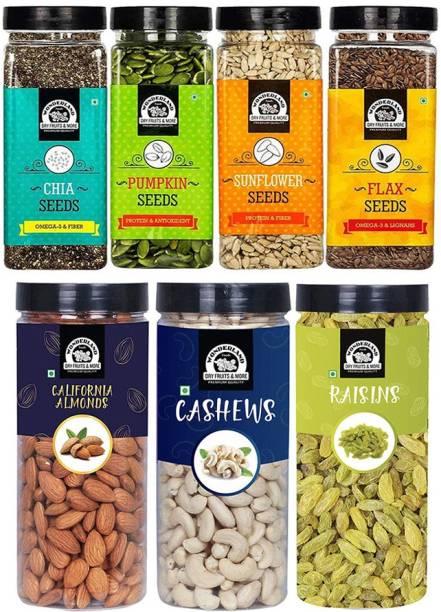 WONDERLAND Dry Fruits Combo Almond 500g, Cashew 500G, Raisins 500G, Pumpkin seeds200G, Chia Seeds200G, Sunflower Seed200G, Flax Seed200G - (2300G- Jar) Assorted Nuts
