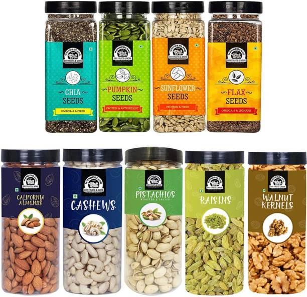 WONDERLAND DryFruits Combo Almond 500G, Cashew 500G, Pistachio 500G, Raisins 500G, Walnut Kernel 350G,Pumpkin seeds200G, Chia Seeds200G, Sunflower Seed200G, Flax Seed200G - (3150G- Jar) Assorted Seeds & Nuts